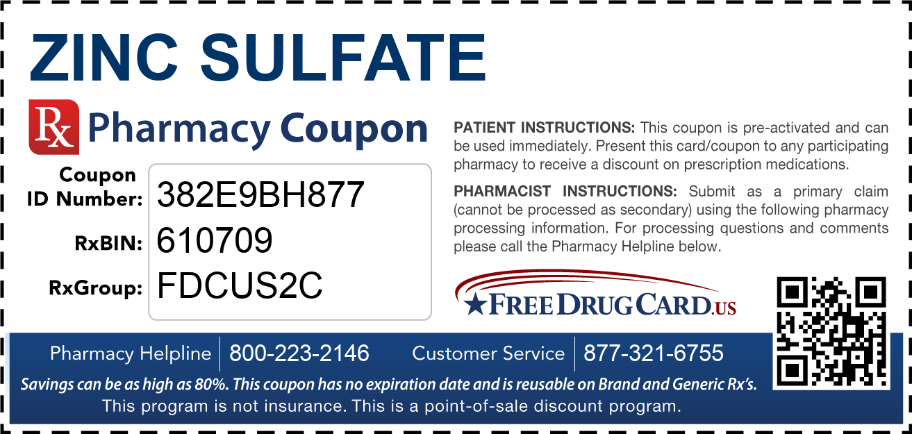 Discount Zinc Sulfate Pharmacy Drug Coupon
