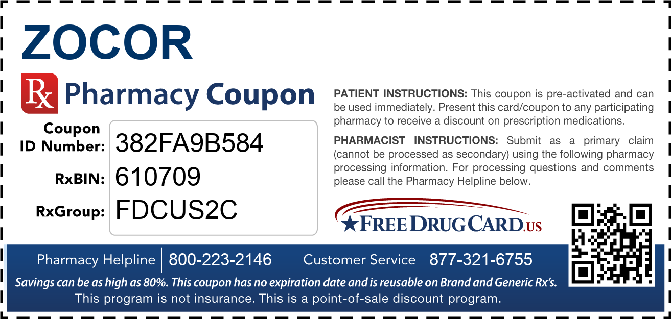 Discount Zocor Pharmacy Drug Coupon