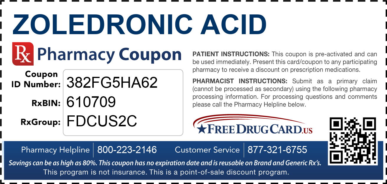 Discount Zoledronic Acid Pharmacy Drug Coupon