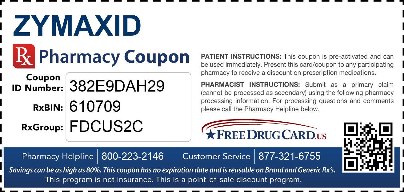 Discount Zymaxid Pharmacy Drug Coupon