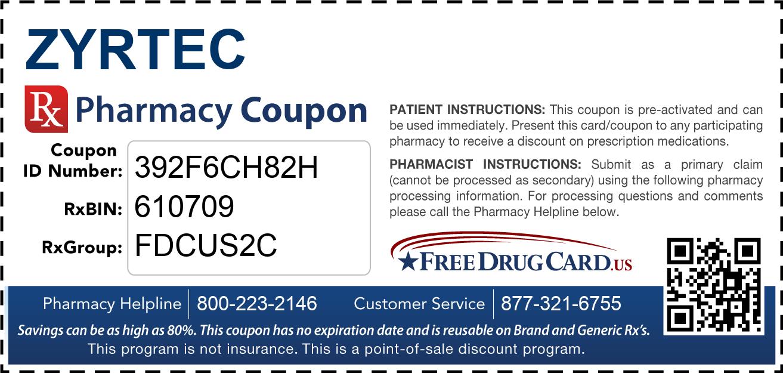 Zyrtec Coupon Free Prescription Savings At Pharmacies Nationwide