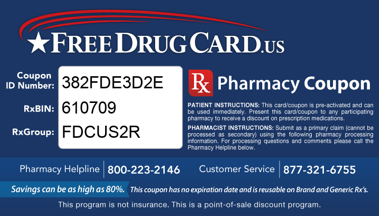 Discount Drug Card - This free Rx card is print ready (no application required)